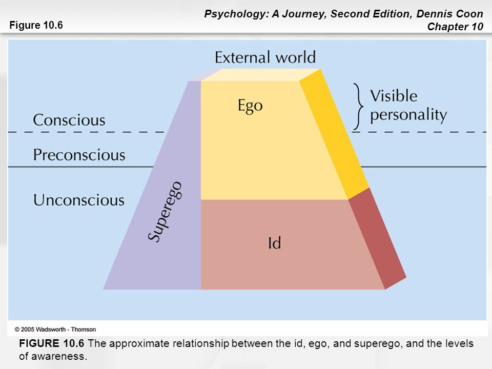 Psychology: A Journey, Second Edition, Dennis Coon Chapter 10 Figure 10.6 FIGURE 10.6 The approximate relationship between the id, ego, and superego,