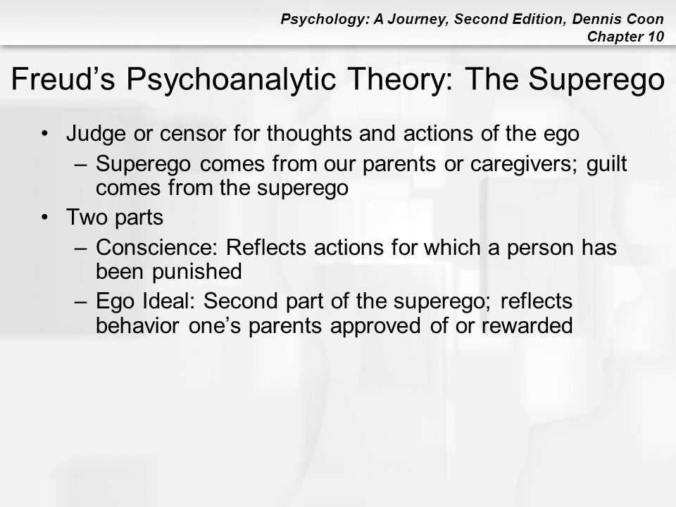 Psychology: A Journey, Second Edition, Dennis Coon Chapter 10 Freud's Psychoanalytic Theory: The Superego Judge or censor for thoughts and actions of
