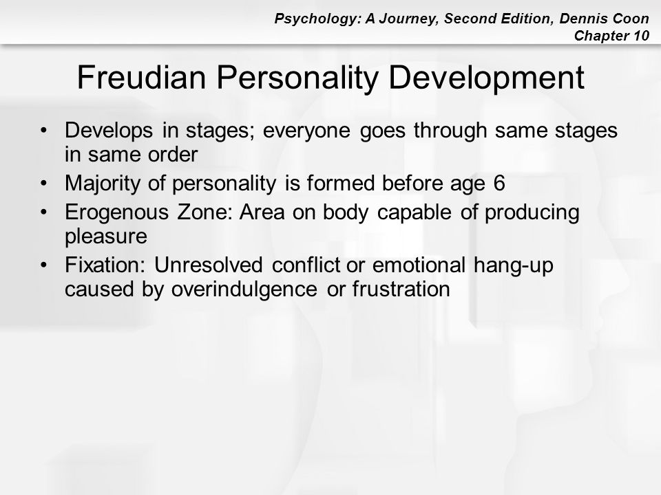 Psychology: A Journey, Second Edition, Dennis Coon Chapter 10 Freudian Personality Development Develops in stages; everyone goes through same stages i