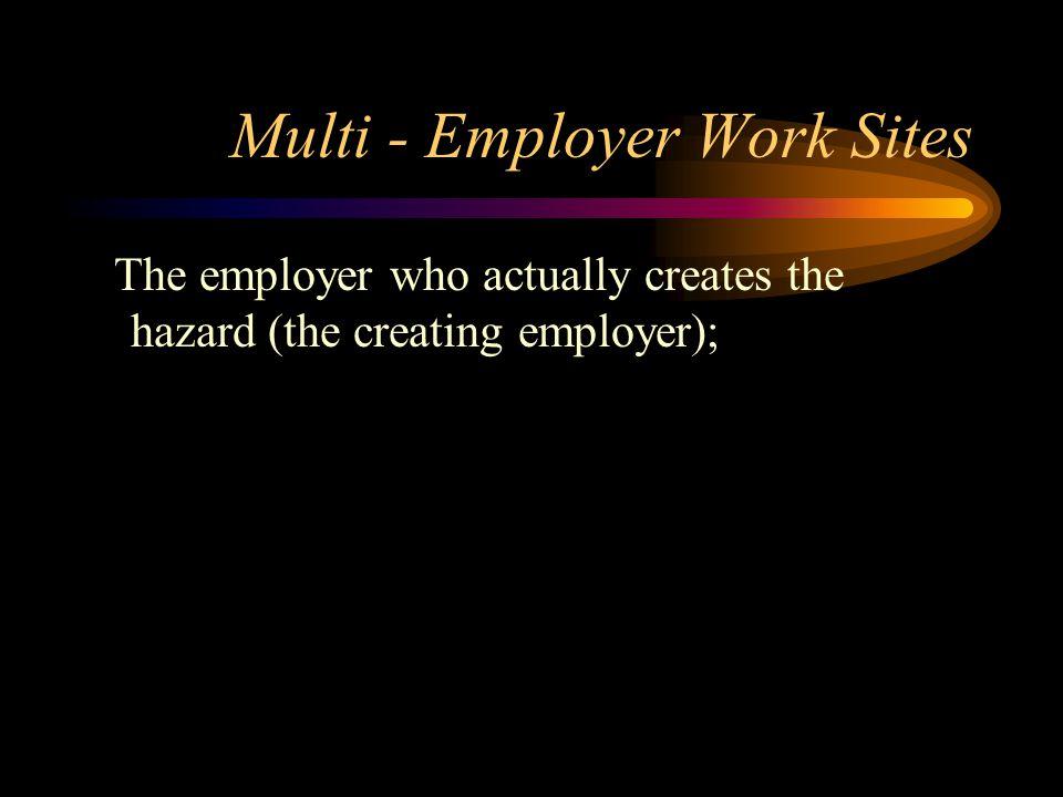 Multi - Employer Work Sites The employer who actually creates the hazard (the creating employer);