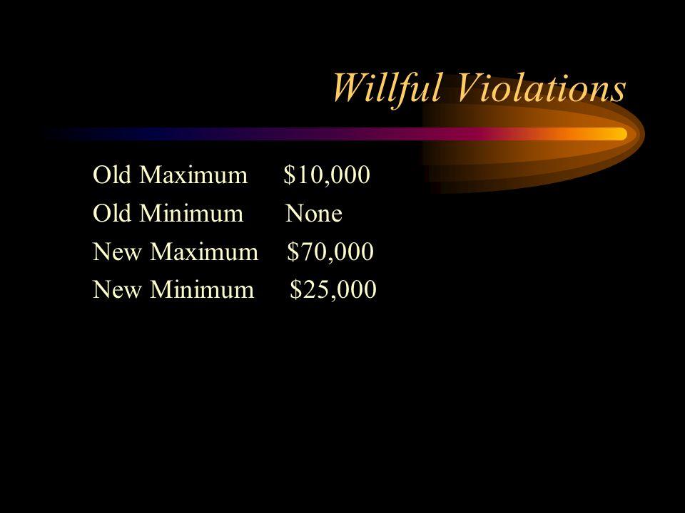 Willful Violations Old Maximum $10,000 Old Minimum None New Maximum $70,000 New Minimum $25,000