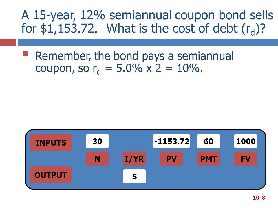 A 15-year, 12% semiannual coupon bond sells for $1,153.72. What is the cost of debt (r d )?  Remember, the bond pays a semiannual coupon, so r d = 5.