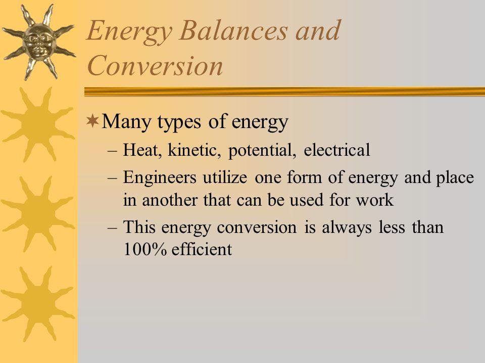 Energy Balances and Conversion  A black box energy balance Rate of energy accum.