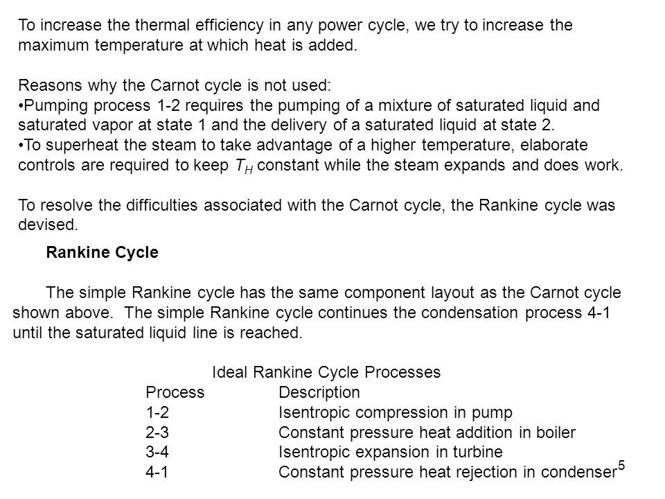 16 Rankine Cycle with Reheat Component Process First Law Result Boiler Const.
