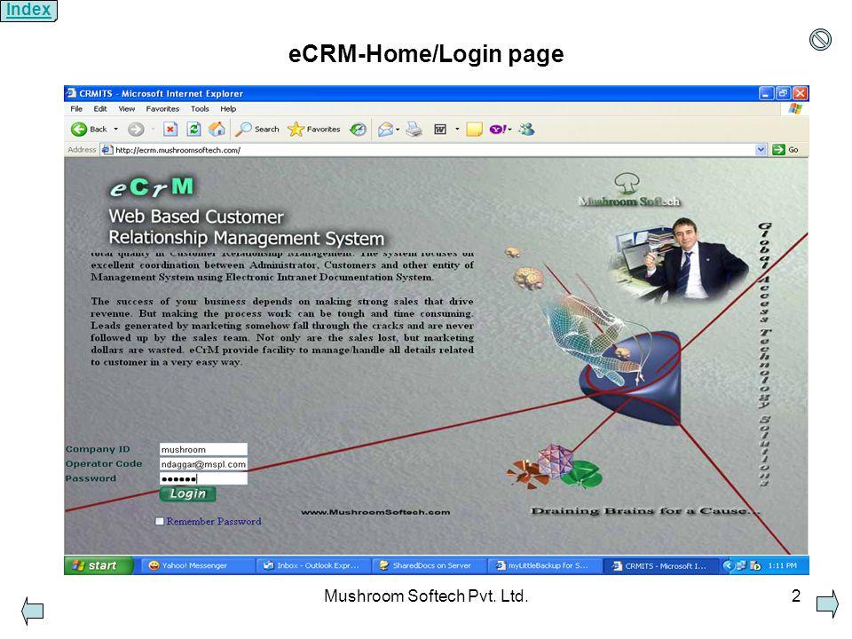 Mushroom Softech Pvt. Ltd.2 eCRM-Home/Login page Index