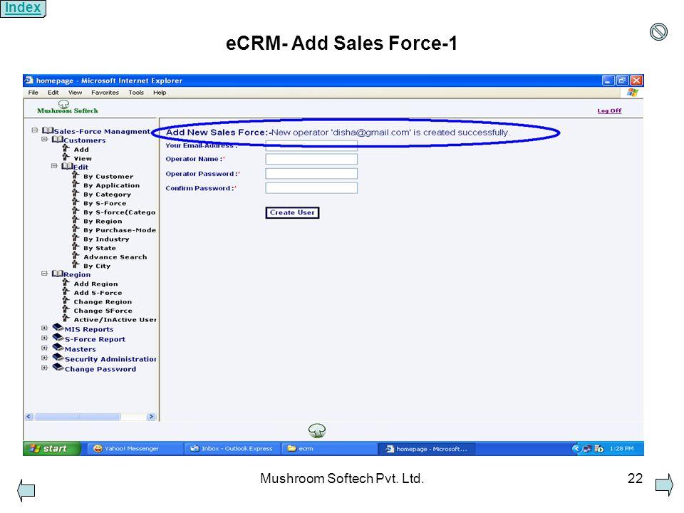 Mushroom Softech Pvt. Ltd.22 eCRM- Add Sales Force-1 Index
