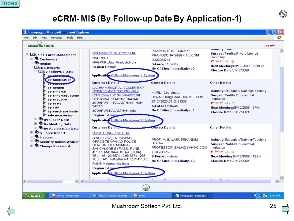 Mushroom Softech Pvt. Ltd.25 eCRM- MIS (By Follow-up Date By Application-1) Index