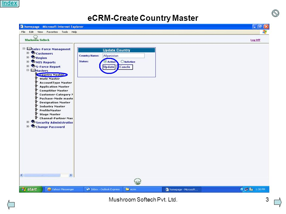 Mushroom Softech Pvt. Ltd.3 eCRM-Create Country Master Index