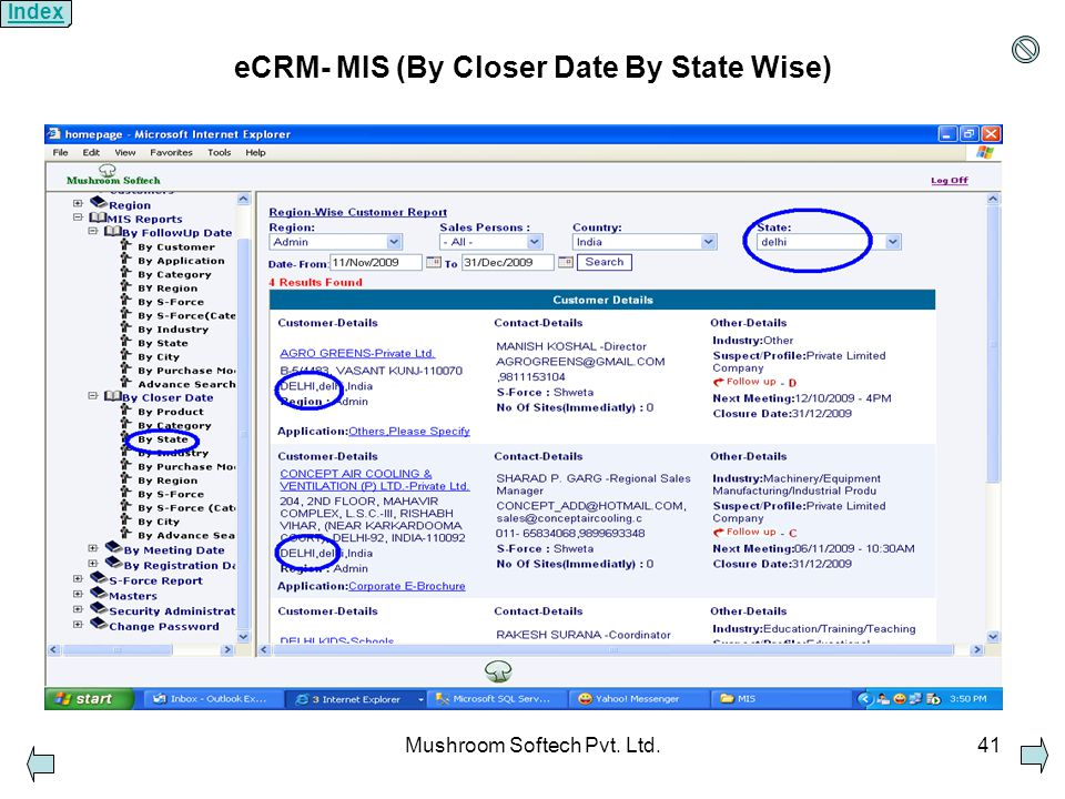 Mushroom Softech Pvt. Ltd.41 eCRM- MIS (By Closer Date By State Wise) Index
