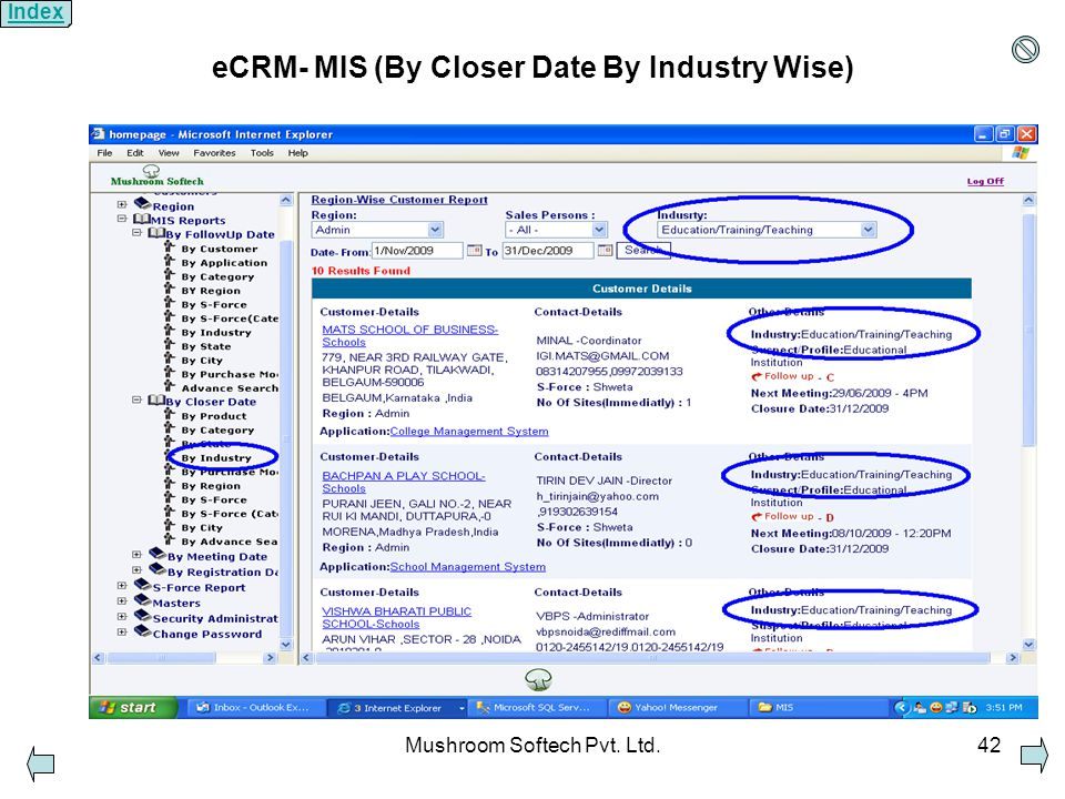 Mushroom Softech Pvt. Ltd.42 eCRM- MIS (By Closer Date By Industry Wise) Index