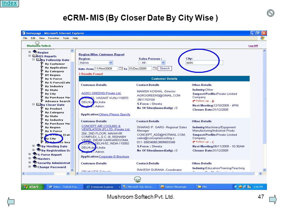 Mushroom Softech Pvt. Ltd.47 eCRM- MIS (By Closer Date By City Wise ) Index