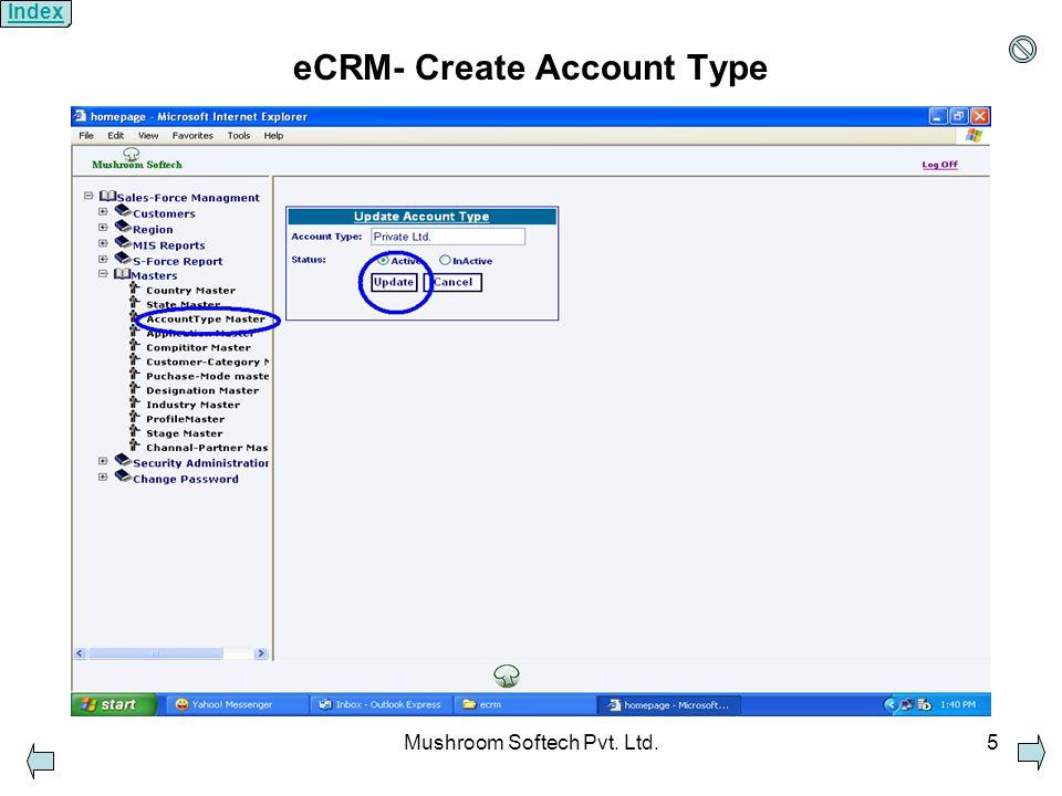 Mushroom Softech Pvt. Ltd.5 eCRM- Create Account Type Index