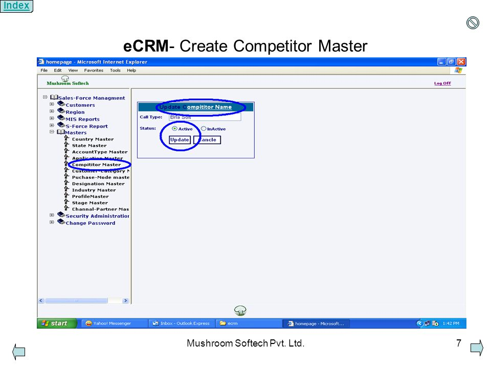 Mushroom Softech Pvt. Ltd.7 eCRM- Create Competitor Master Index