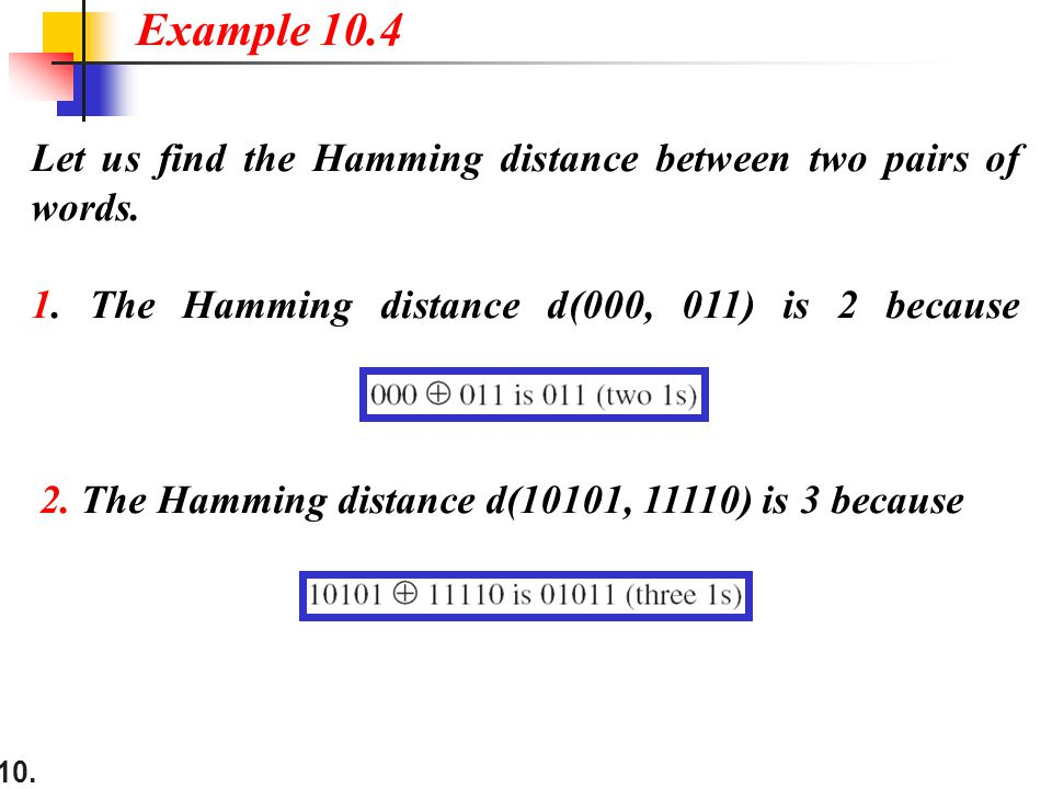 10.Let us find the Hamming distance between two pairs of words.