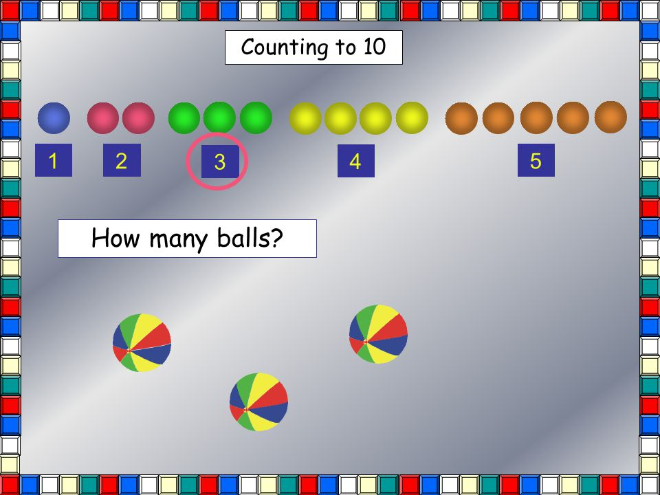 Counting to 10 12 3 4 5 How many balls?