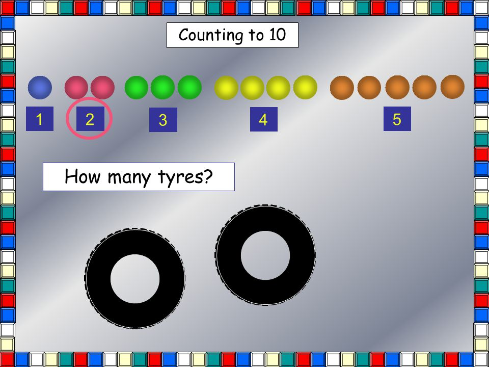 Counting to 10 12 3 4 5 How many tyres?