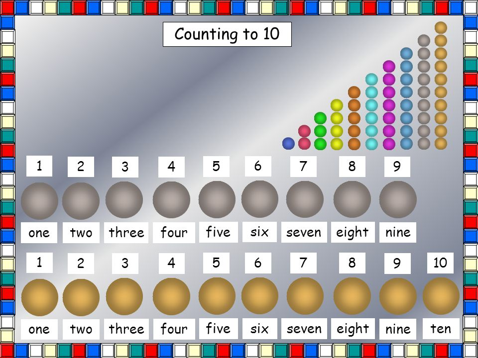 Counting to 10 1 2 3 4 5 6 7 8 9 10 Match the number to the spots on the dominoes.
