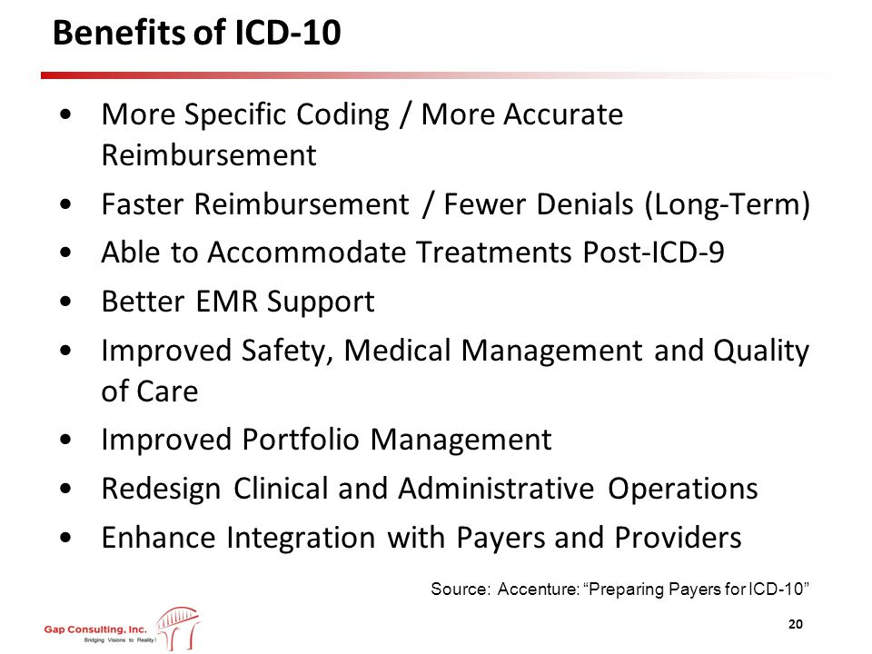 Benefits of ICD-10 More Specific Coding / More Accurate Reimbursement Faster Reimbursement / Fewer Denials (Long-Term) Able to Accommodate Treatments Post-ICD-9 Better EMR Support Improved Safety, Medical Management and Quality of Care Improved Portfolio Management Redesign Clinical and Administrative Operations Enhance Integration with Payers and Providers 20 Source: Accenture: Preparing Payers for ICD-10