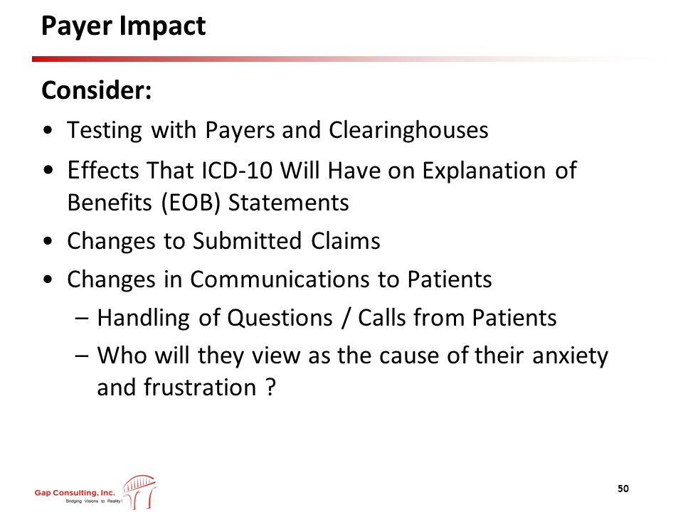 Payer Impact Consider: Testing with Payers and Clearinghouses E ffects That ICD-10 Will Have on Explanation of Benefits (EOB) Statements Changes to Submitted Claims Changes in Communications to Patients –Handling of Questions / Calls from Patients –Who will they view as the cause of their anxiety and frustration .