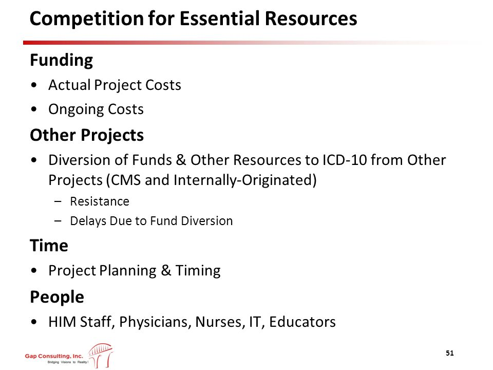 Competition for Essential Resources Funding Actual Project Costs Ongoing Costs Other Projects Diversion of Funds & Other Resources to ICD-10 from Other Projects (CMS and Internally-Originated) –Resistance –Delays Due to Fund Diversion Time Project Planning & Timing People HIM Staff, Physicians, Nurses, IT, Educators 51