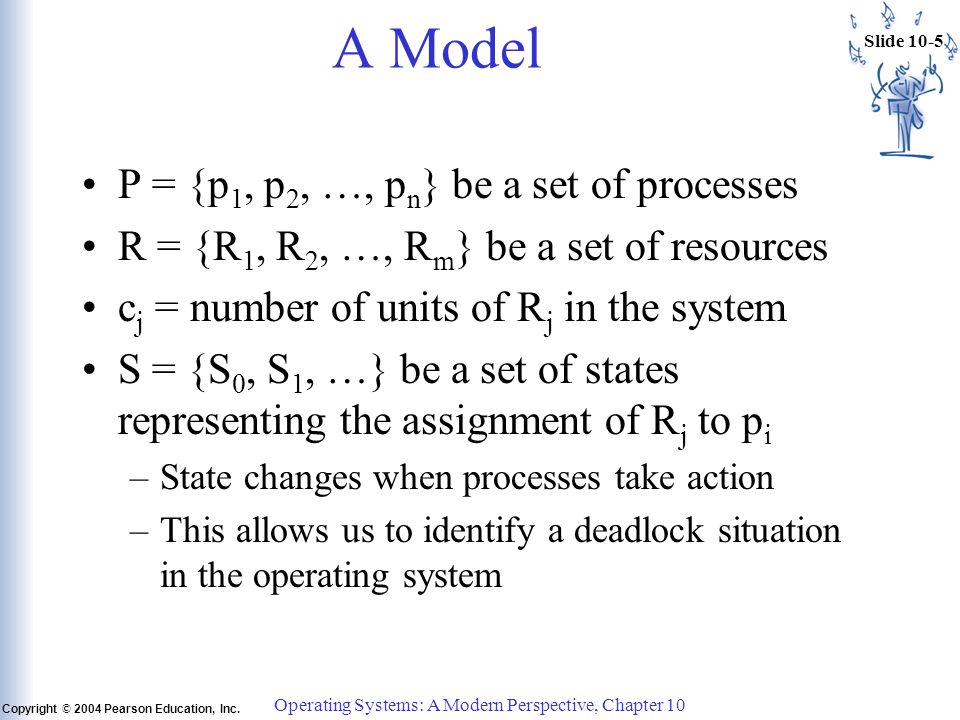 Slide 10-5 Copyright © 2004 Pearson Education, Inc. Operating Systems: A Modern Perspective, Chapter 10 A Model P = {p 1, p 2, …, p n } be a set of pr