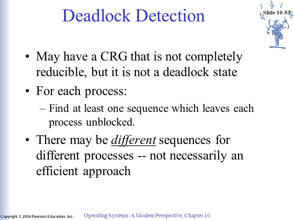 Slide 10-53 Copyright © 2004 Pearson Education, Inc. Operating Systems: A Modern Perspective, Chapter 10 Deadlock Detection May have a CRG that is not