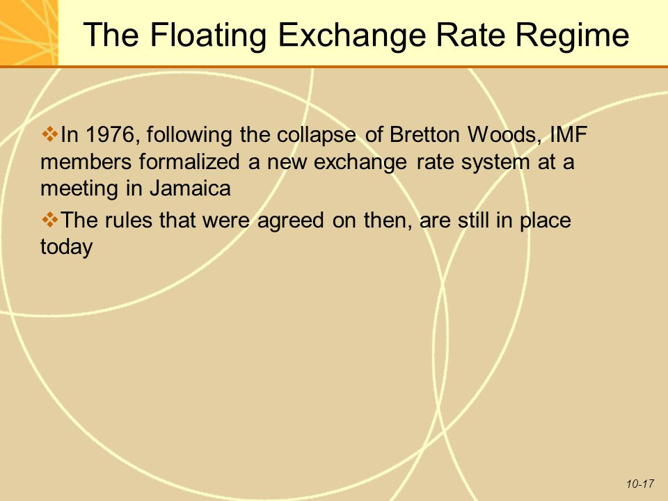 10-17 The Floating Exchange Rate Regime  In 1976, following the collapse of Bretton Woods, IMF members formalized a new exchange rate system at a meeting in Jamaica  The rules that were agreed on then, are still in place today