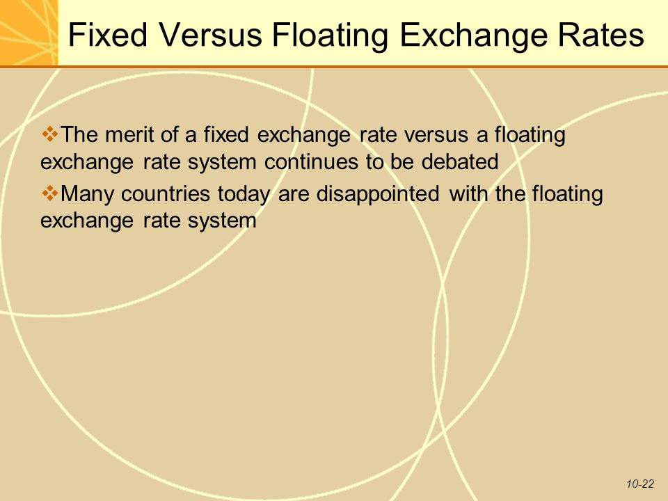 10-22 Fixed Versus Floating Exchange Rates  The merit of a fixed exchange rate versus a floating exchange rate system continues to be debated  Many countries today are disappointed with the floating exchange rate system