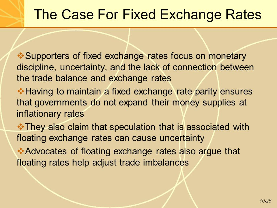 10-25 The Case For Fixed Exchange Rates  Supporters of fixed exchange rates focus on monetary discipline, uncertainty, and the lack of connection bet