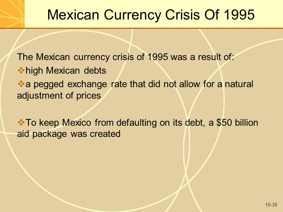 10-35 Mexican Currency Crisis Of 1995 The Mexican currency crisis of 1995 was a result of:  high Mexican debts  a pegged exchange rate that did not allow for a natural adjustment of prices  To keep Mexico from defaulting on its debt, a $50 billion aid package was created