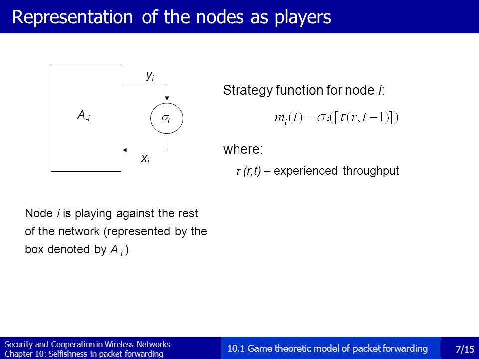 Security and Cooperation in Wireless Networks Chapter 10: Selfishness in packet forwarding 7/15 Representation of the nodes as players Node i is playing against the rest of the network (represented by the box denoted by A -i ) yiyi xixi A -i ii Strategy function for node i: where:   (r,t) – experienced throughput 10.1 Game theoretic model of packet forwarding