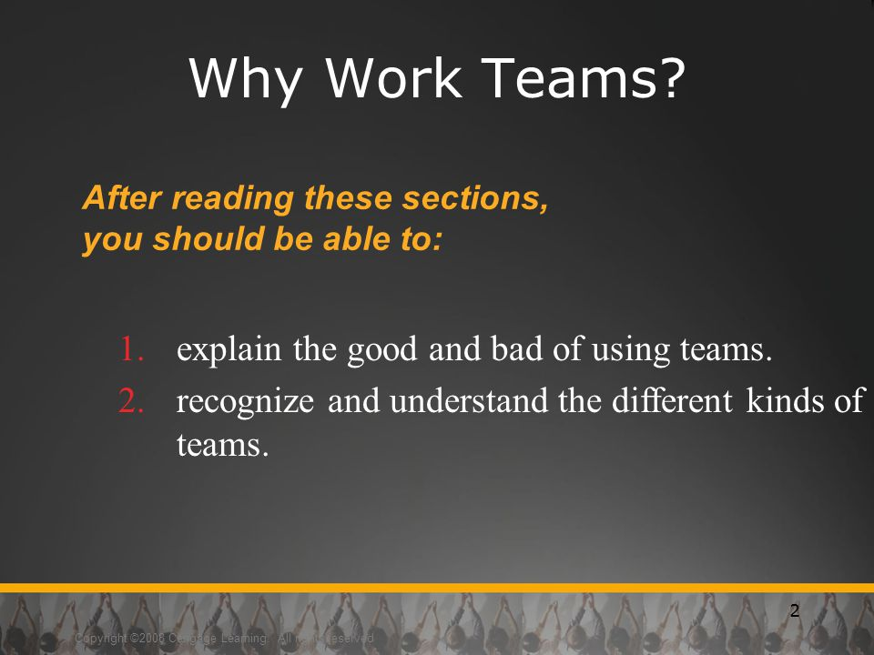 Copyright ©2008 Cengage Learning.All rights reserved 2 Why Work Teams.