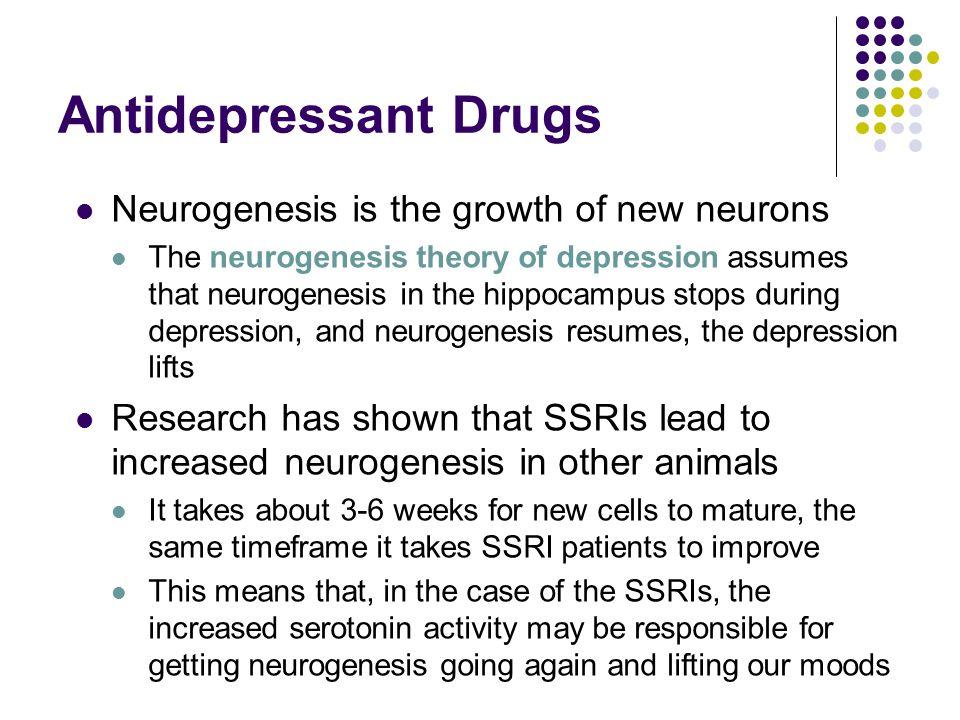 Antidepressant Drugs Neurogenesis is the growth of new neurons The neurogenesis theory of depression assumes that neurogenesis in the hippocampus stop
