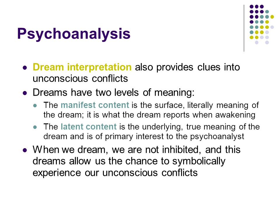 Psychoanalysis Dream interpretation also provides clues into unconscious conflicts Dreams have two levels of meaning: The manifest content is the surf