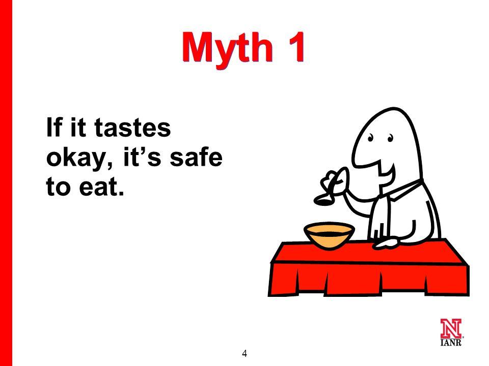 4 Myth 1 If it tastes okay, it's safe to eat.