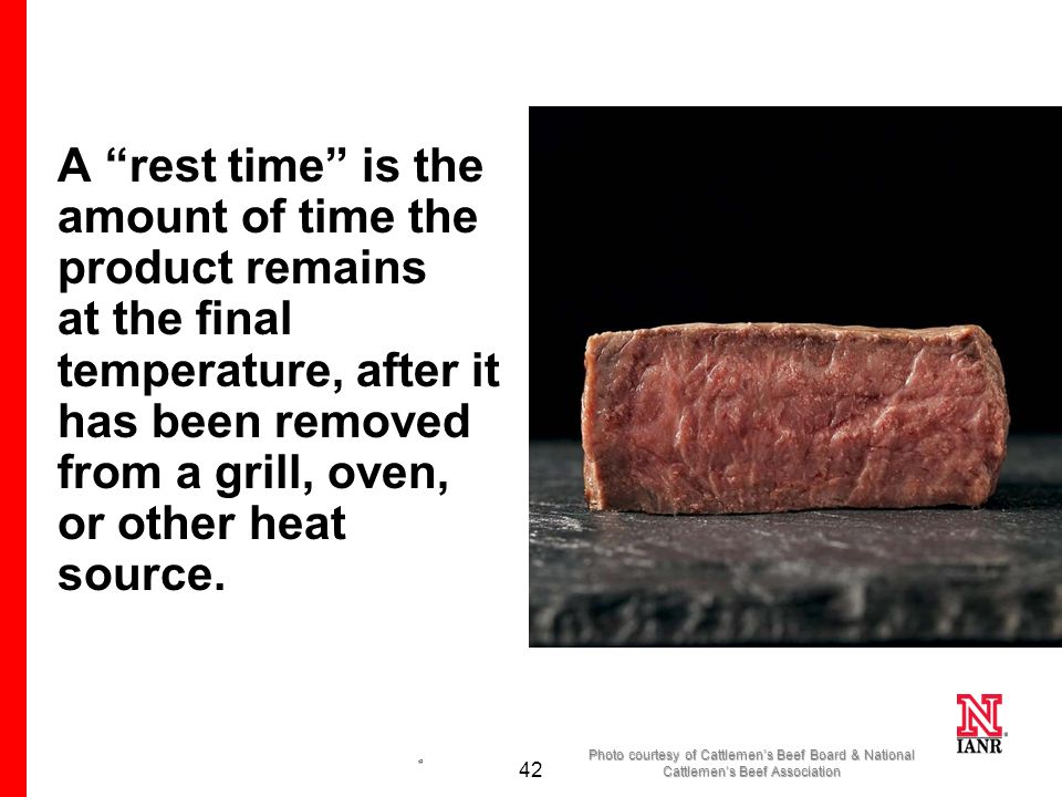 41 USDA has revised its recommended cooking temperature for all whole cuts (steaks, roasts, and chops) of meat, including pork, beef, lamb and veal to 145 °F and then allowing a 3 minute rest time before carving or consuming.