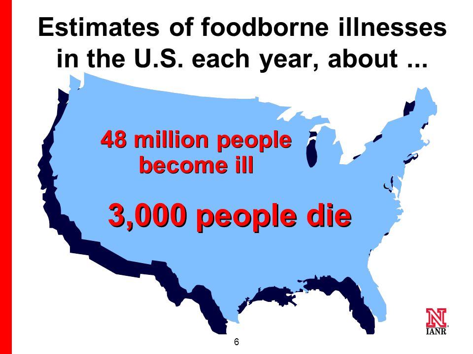 6 Estimates of foodborne illnesses in the U.S.each year, about...