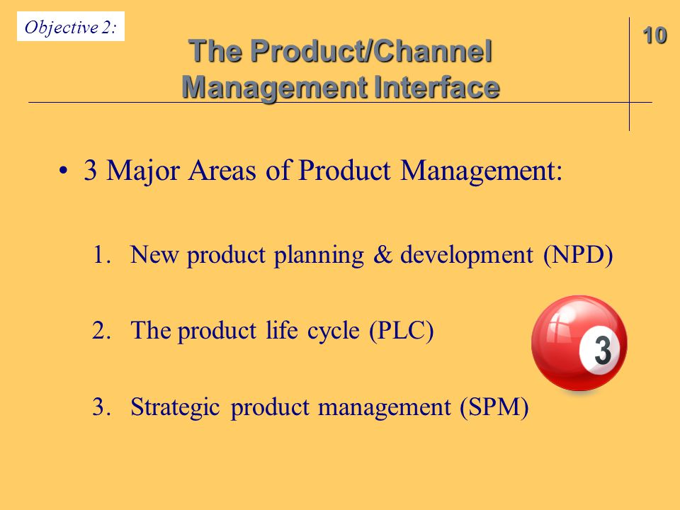 3 Major Areas of Product Management: 1.New product planning & development (NPD) 2.The product life cycle (PLC) 3.Strategic product management (SPM) 10