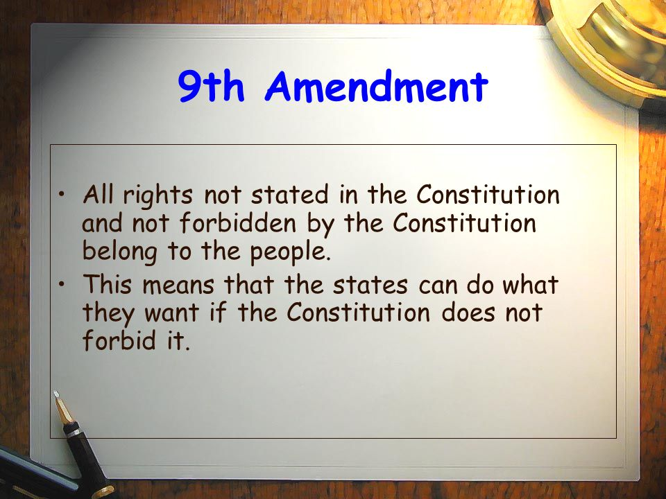 10th Amendment The 10th Amendment states that any power not granted to the federal government belongs to the states or to the people.