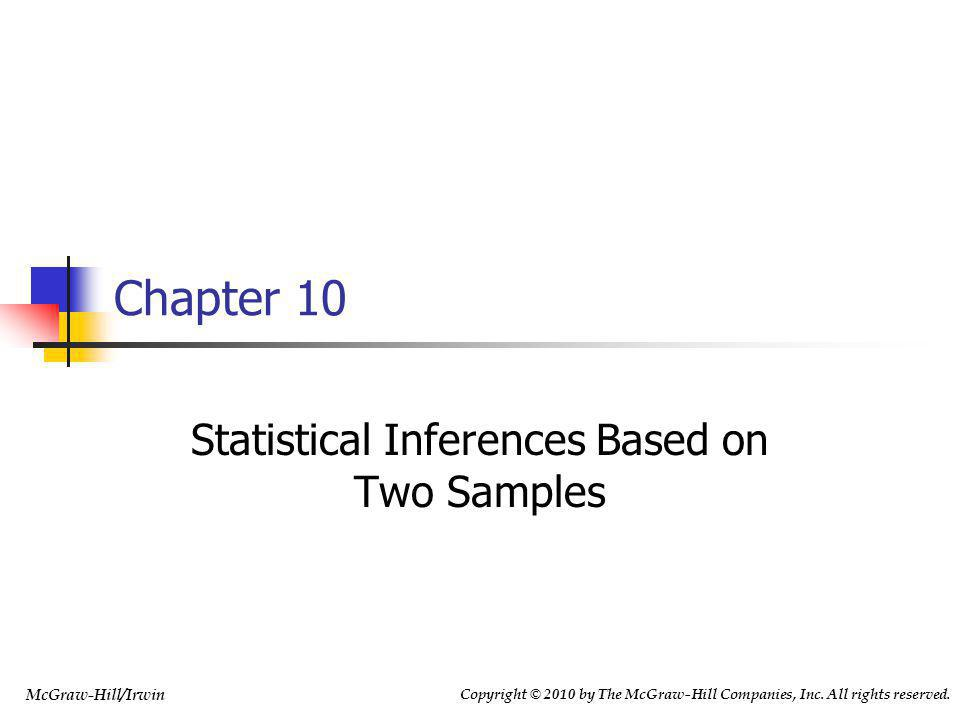 10-2 Chapter Outline 10.1Comparing Two Population Means by Using Independent Samples: Variances Known 10.2Comparing Two Population Means by Using Independent Samples: Variances Unknown 10.3Paired Difference Experiments 10.4Comparing Two Population Proportions by Using Large, Independent Samples 10.5Comparing Two Population Variances by Using Independent Samples