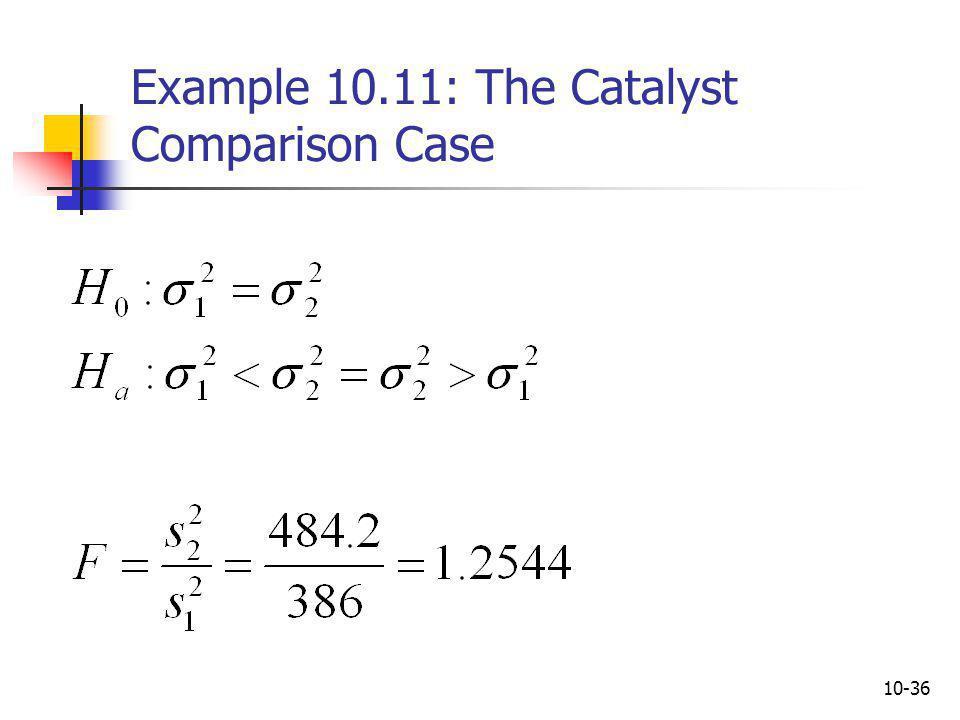 10-36 Example 10.11: The Catalyst Comparison Case