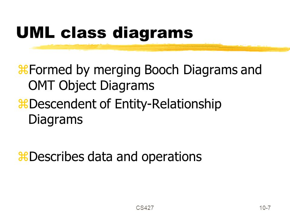CS42710-8 Elements of UML class diagram zClass yAttributes yOperations zAssociations yMultiplicity yDirection/aggregation zGeneralization