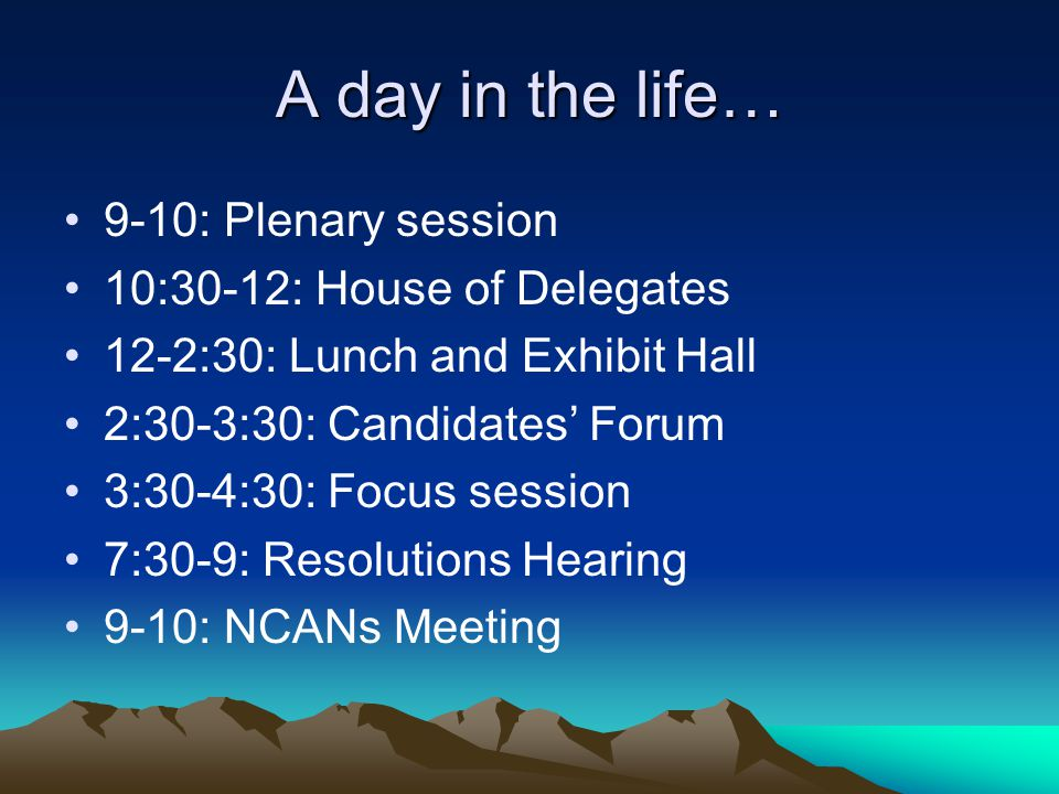 A day in the life… 9-10: Plenary session 10:30-12: House of Delegates 12-2:30: Lunch and Exhibit Hall 2:30-3:30: Candidates' Forum 3:30-4:30: Focus session 7:30-9: Resolutions Hearing 9-10: NCANs Meeting