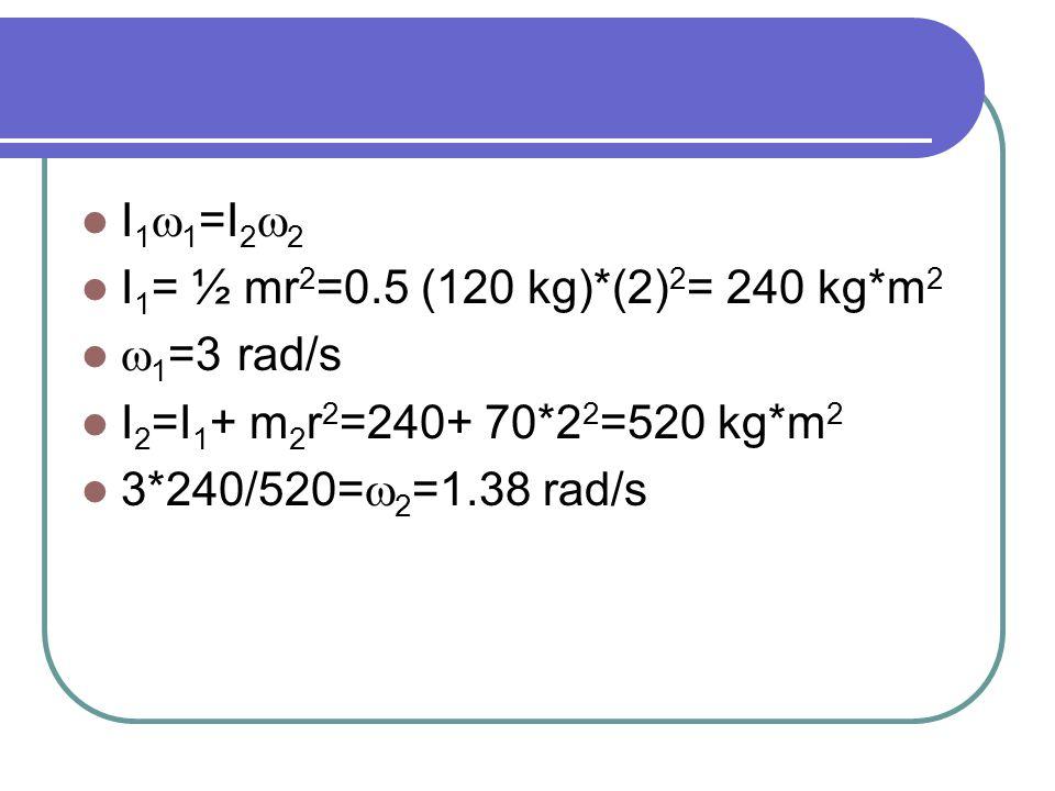 I 1  1 =I 2  2 I 1 = ½ mr 2 =0.5 (120 kg)*(2) 2 = 240 kg*m 2  1 =3 rad/s I 2 =I 1 + m 2 r 2 =240+ 70*2 2 =520 kg*m 2 3*240/520=  2 =1.38 rad/s