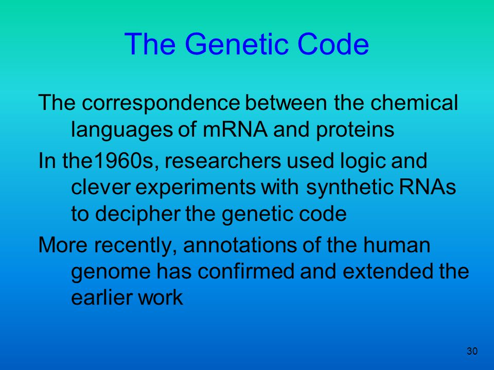 30 The Genetic Code The correspondence between the chemical languages of mRNA and proteins In the1960s, researchers used logic and clever experiments