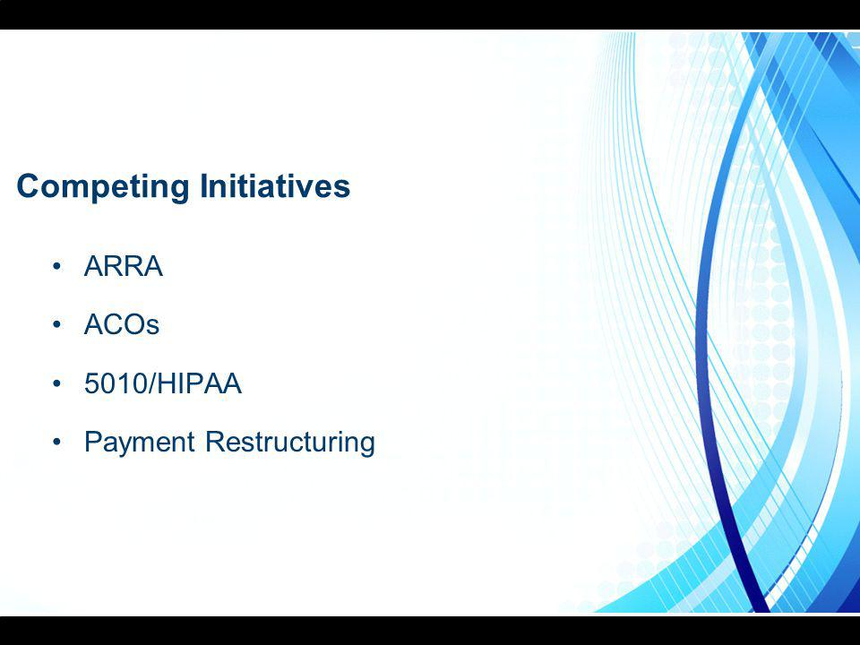 Competing Initiatives ARRA ACOs 5010/HIPAA Payment Restructuring
