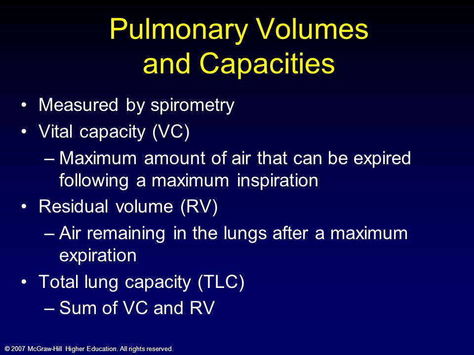 © 2007 McGraw-Hill Higher Education. All rights reserved. Pulmonary Volumes and Capacities Measured by spirometry Vital capacity (VC) –Maximum amount