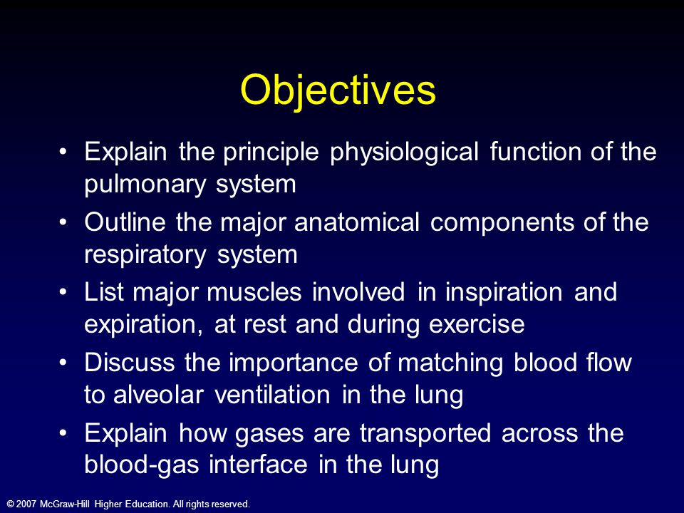 © 2007 McGraw-Hill Higher Education. All rights reserved. Objectives Explain the principle physiological function of the pulmonary system Outline the