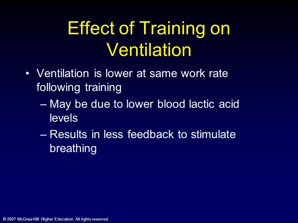 © 2007 McGraw-Hill Higher Education. All rights reserved. Effect of Training on Ventilation Ventilation is lower at same work rate following training