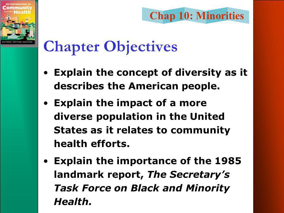 Chap 10: Minorities Chapter Objectives List the racial and ethnic categories currently used by the U.S.